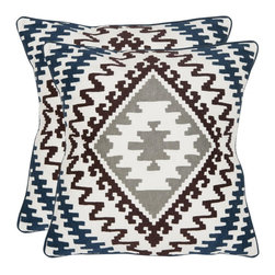 Safavieh - Navajo Accent Pillow - Blue,Brown - Navajo Accent Pillow - Blue,Brown