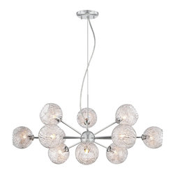 "Possini Euro Design - Possini Euro Wired 32"" Wide Glass and Chrome Chandelier - This stunning chandelier features a chrome finish center piece upon which twelve arms are mounted. Attached to each arm is a mouth-blown glass cup with a distinctive aluminum wire decoration inside of each. The light hangs from a wire and cable attached to a round chrome finish canopy. A breathtaking contemporary look from Possini Euro Design. Chrome and glass chandelier. Mouth blown glass. Aluminum wire. Includes twelve 35 watt G9 halogen bulbs. 32"" wide. 13"" high. Comes with 10 feet cable and wire. Canopy is 4 1/2"" wide. Hang weight is 5 lbs.  Chrome and glass chandelier.  Mouth blown glass.  Aluminum wire.  A stylish large chandelier.  Includes twelve 35 watt G9 halogen bulbs.  32"" wide.  13"" high.  Comes with 10 feet cable and wire.  Canopy is 4 1/2"" wide.  Hang weight is 5 lbs."
