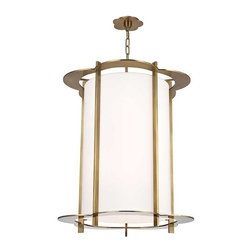 Hudson Valley Lighting - Hudson Valley Warwick I-8 Light Pendant in Aged Brass - Hudson Valley Lighting's Warwick's I-8 Light Pendant shown in Aged Brass. By the 1960s, a design evolution was gaining momentum. While continuing to embrace early modernism's enthusiasm for clean design, Mid-Century Modernists elevated expression and sculptural forms. Warwick enlivens a clean cylindrical shade with a floral-patterned cast metal frame. The playful curves of Warwick's outline complement its sleek vertical columns, for a look that is both fun and elegant.