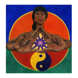 Chi (Original) by Damon Powell - Artist & Theologian - This image symbolizes the flow of energy or chi. The Female figure is in prayer and meditation with the spark of divine energy flowing between her outstretched palms - while the yin yang symbol below her symbolizes the continuous flow of these energies. Each color of the image represents a color associated with the human aura from the crown to root chakras.