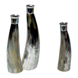 """Horn Candlesticks, Set of 3 - A set of three water buffalo horn candlesticks with nickle plated taper holders. Each candlestick varies in size due to natural materials. 2.5"""" - 2.75"""" d x 8.5"""" h, 9.5"""" h, 11.5"""" h."""