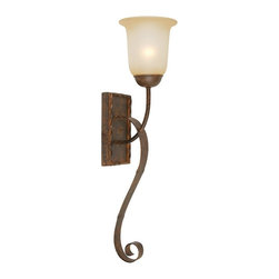 Yosemite Home Decor - Yosemite Home Decor Mckensi Traditional Wall Sconce X-SGF17939 - This Lu Previte Signature Lighting wall sconce features a classic torch-style design with curvilinear arms and scrolled detailing. The simple rectangular backplate features coordinating twisted metal framing and the entire design is finished in a bronze patina. Tea stained glass is a warm and elegant final touch.