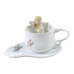 US - 3.75 Inch Porcelain Coffee Cup Set Nude Female in Cup with Roses - This gorgeous 3.75 inch porcelain coffee cup set nude female in cup with roses has the finest details and highest quality you will find anywhere! 3.75 inch porcelain coffee cup set nude female in cup with roses is truly remarkable.
