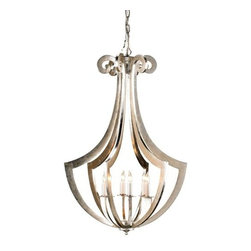 Currey & Company - Venus Chandelier by Currey & Company - The Currey & Company Venus Chandelier features Wrought Iron that provides an alluring illumination allowing you to create the perfect mood at any occasion. The Venus Chandelier features wrought iron and Contemporary Silver Leaf finish. Currey & Company creates history by acknowledging traditions from the past and by producing rare and enduring innovative products.The Currey & Co. Venus Chandelier is available with the following:Included Features: Hand formed metal ribs. Contemporary Silver Leaf finish.36 in. chain.UL Listed.Lighting: Six 25 Watt 120 Volt Type B Candelabra Base Incandescent lamps (not included).Shipping: This item usually ships within three- to five business days.