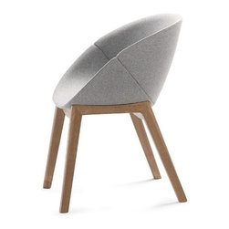 Domitalia - Coquille-L Chair - Dark Gray Wool - Ash White Finish - Whether used in a multifunctional dining room or tucked away in a study, the Coquille-L Armchair creates a welcoming aesthetic ideal for the modern-minded household. Featuring a unique combination of modern forms and natural materials, this modern armchair is comprised of a solid wood frame and a wool upholstered shell. The shell and base create a sturdy whole that promotes both comfort and stability thanks to the perfect pairing and snug fit of its two pieces.