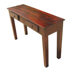 Wood Storage Drawers Console Hall Entry Way Foyer Table - New handmade Rectangular Hand Carved Accent Table perfect for your foyer or hallway.