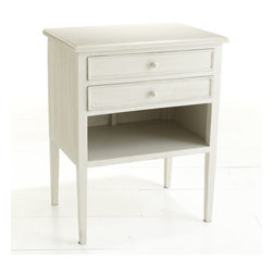 Dreamy Bedside Table - This just might be the bedside table of your dreams. It features two shallow drawers for remotes or magazines and a large open cubby for books and tissue boxes. You'll never have visible clutter by your bed again! It's finished in a solid ivory finish with a simple design that works in just about any room.