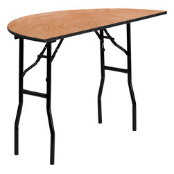 Flash Furniture - Flash Furniture 48 Inch Half-Round Wood Folding Banquet Table - YT-WHRFT48-HF-GG - This wood folding table is very useful since it can be instantly stored and is easy to carry at the same time. This durable table was built for constant use in hotels, banquet rooms, training rooms and seminar settings. Not only is this table durable enough for the everyday rigors of commercial use this table can be used in the home when it comes to setting up your own personal party plans. [YT-WHRFT48-HF-GG]