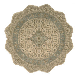 "Nourison - Traditional Heritage Hall Scallop 8'0""x8' Scallop Beige Area Rug - The Heritage Hall area rug Collection offers an affordable assortment of Traditional stylings. Heritage Hall features a blend of natural Beige color. Hand Knotted of 100% Wool the Heritage Hall Collection is an intriguing compliment to any decor."