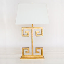Clayton Gold Leaf Lamp - I love, love, love a lamp with clean lines, and this one is so light and gorgeous.