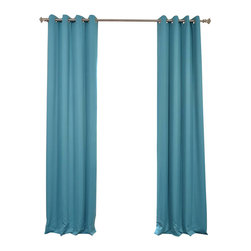 Exclusive Fabrics & Furnishings, LLC - Turquoise Blue Grommet Blackout Curtain - SOLD PER PANEL. 100% Polyester. Finished With 8 Nickel Finish Grommets. Unlined. Imported. Weighted Hem. Dry Clean Only.
