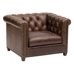 Henry Leather Chair - A classic composition that can be recognized just about anywhere. This Chesterfield style is traditionally exquisite with a refined tufted back and historic rolled arms. It's universal appearance exudes an opulent state of mind and a prestigiously designed structure.