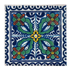 Four Leaf Pattern Talavera Tiles, Box of 15