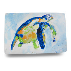 Zeckos - Betsy Drake Colorful Sea Turtle Comfort Floor Mat 18 In. x 26 In. - Add a pop of aquatic charm to the floor by the shower, the front door or kitchen with this colorful floor mat featuring a majestic blue, green and gold sea turtle swimming in the deep blue sea. Made of synthetic washable materials, it's sure to give you years of enjoyment while the non-slip rubber backing helps keep it in place, and the 1/4 inch thickness provides comfort and relief while standing. Measuring 18 inches (46 cm) wide and 26 inches (66 cm) long, it's great for a pool area, laundry room or next to the bed or closet in a bedroom, and would make a wonderful housewarming gift