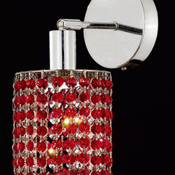 Elegant Lighting - Mini Ellipse Chrome One-Light Bath Fixture with Royal Cut Bordeaux Red Crystal a - Royal Cut crystal is a combination of high quality lead free machine cut and machine polished crystals and full-lead machined-cut crystals to meet a desirable showmanship of an authentic crystal light fixture.  -Recommended to be professionally hung and supported independently of the outlet box. Consult an electrician for guidance to determine the correct hanging procedure.  -Crystals may ship separately and some assembly is required.  -Depending on the size & design the assembly can be time consuming, but is well worth the effort. Elegant Lighting - 1281W-R-E-BO/RC
