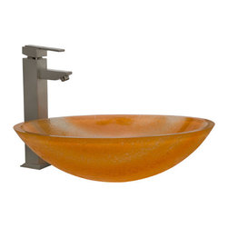 Color! - This Citrus Oval Glass Vessel Sink is has a striking appearance with its textured exterior, bright orange hue and soft, clear streaks. Pair with the wall mount or deck mount faucet of your choice to complete the look.
