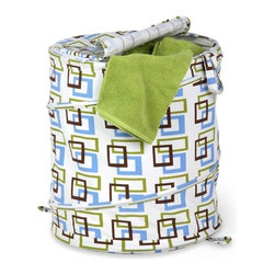 Large Patterned Pop Open Hamper, Brown/Green Squares - Honey-Can-Do HMP-01560 Large Pop-open with Lid, Spiral Hamper, Green/Brown/Blue Print.  Want a hamper with a big pop? Now you've got it. This large poly-cotton hamper pops-up to open and easily compresses flat when not in use. The cotton material is durable and stain resistant and the top zips up to keep contents concealed. Useful carrying handles make transporting clothes to the laundry room, Laundromat, or dry cleaner a breeze. Keep clothes off of the floor and your space neat and clean with this practical and fun hamper.