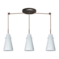 Besa Lighting - Besa Lighting 3JB-412419 Cierro 3 Light Linear Pendant - Cierro is a softly tapered narrow cylinder, creating a refined contemporary look. Our Carrera glass is a classic yet modern decor that gives off a soft white light. Clear molten glass is rolled in alabaster powder like frit, and then blown into shape with a semi-clear frosted white inner finish. This decor is created by rolling molten glass in small bits of white called frit. The smooth satin finish on the clear outer layer is a result of an extensive etching process. This blown glass is handcrafted by a skilled artisan, utilizing century-old techniques passed down from generation to generation. Each piece of this decor has its own artistic nature that can be individually appreciated. The cord pendant fixture is equipped with three (3) 10' SVT cordsets and a 3-light linear canopy, two (2) suspension stemhooks included.Features:
