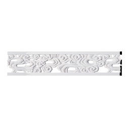 """Ekena Millwork - 7""""H x 5/8""""P x 94 1/2""""L Flower Pierced Panel Moulding - 7""""H x 5/8""""P x 94 1/2""""L Flower Pierced Panel Moulding. Our beautiful panel moulding and corners add a decorative, historic, feel to walls, ceilings, and furniture pieces. They are made from a high density urethane which gives each piece the unique details that mimic that of traditional plaster and wood designs, but at a fraction of the weight. This means a simple and easy installation for you. The best part is you can make your own shapes and sizes by simply cutting the moulding piece down to size, and then butting them up to the decorative corners. These are also commonly used for an inexpensive wainscot look."""