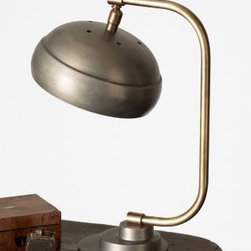 Garnet Hill - Steamer Desk Lamp - In an ultramodern shape and crafted in traditional cast metal, this lamp gives a nod to the nostalgic past and an exciting future. Hand-painted gunmetal finish. Inline on/off switch. 8' brown cloth cord. Uses up to a 40-watt bulb. Size: 14 in. H.