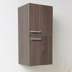 """Fresca - Fresca Gray Oak Bathroom Linen Side Cabinet w/ 2 Storage Areas - Gray Oak finish makes a bold statement when you add the FST8091GO Fresca Gray Oak Bathroom Linen Side Cabinet to your powder room. The rich wood grain and sleek lines can match the existing decor, or you can build a whole new look around them. This linen storage cabinet has two doors with metallic handles, each of which covers a single storage space for your towels or toiletries. Install this W 12 5/8"""" x D 12"""" x H 27 1/2"""" linen cabinet furniture on either side of your mirror for a coordinated look."""