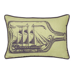 Kevin O'Brien Studio - Nautical Ship in a Bottle Pillow, Aquarium - Our brightly colored nautical prints are screen printed onto 100% linen; piped edging; zip closure; feather/down insert included; designed in Philadelphia and made in Nepal
