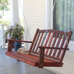 "Coral Coast Richmond Curved Back Porch Swing with Optional Cushion - Even better than before!We think all our porch swings are pretty fantastic but we also know each one could be even better with a little help. That's why we give you the """"hardware"""" option to add on our comfort springs and hanging hooks. You'll love the security you get with these swing hangers. Each one is covered in high-impact ABS plastic to prevent rusting. The metal comfort springs are pretty much the best porch swing accessory ever. Each one has a 600-lb. weight capacity and they're super shock absorbers. They give your swing a little extra bounce. The Richmond Porch Swing is what relaxing is all about. This swing offers a fast assembly of about 30 minutes. In no time you'll be sitting back swinging away the afternoon and enjoying the beauty of this swing on your porch. It's crafted of sturdy red shorea (red lauan) to last year after year and its classic slat design offers the utmost in comfort. Nothing compares to the soothing charm of a porch swing and our Richmond is one you'll cherish. Please note that it is recommended to let your porch swing sit outside for 2-3 days before sitting on it to let the stain air out and completely dry. Dimensions 4-foot swing: 48L x 26W x 25H inches 5-foot swing: 60L x 26W x 25H inches Chain length: 40 inches (upper) 28 - 32 inches (lower) Total hanging length: 68 - 72 inches (from arm to ceiling) Installation: The distance between anchored hanging hooks should be no wider than one to two feet longer than the actual swing size. The hooks of four-foot swings should be installed no greater than five to six feet apart. The hooks of five-foot swings should be installed no greater than six to seven feet apart. About Shorea Wood and Linseed OilShorea is possibly the best wood choice for outdoor furniture. Related to Burma teak this hardwood grows naturally and plentifully in the Pacific Rim countries. Because shorea is dense heavy and hard and contains an abundance of natural oils it is highly resistant to rot bug infestation weather and marring. Shorea (red lauan) wood will have variations is color - from a red to a yellow cast. The Shorea wood for this item is treated with linseed oil. Linseed oil is not a varnish. The oil soaks into the pores of the wood leaving a shiny (not glossy) surface that shows off the grain of the wood. Linseed oil helps protects the wood from denting by compression and from accelerated deterioration."