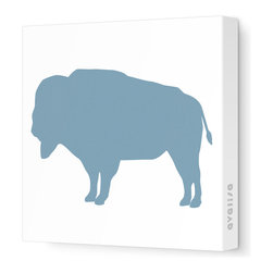 "Avalisa - Silhouette - Buffalo Stretched Wall Art, 12"" x 12"", Blue Gray - A symbol of strength and abundance, the buffalo will bring positive energy to your home. Hang this stretched wall art in your choice of colors on a white background wherever you want to pump up the good vibes."
