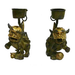 Golden Lotus - Chinese Green Metal Golden Fu Dog Heads Candle Holders - This is a pair of greenish rustic color metal Fu- Dog base candle holders  or display.