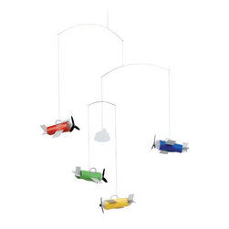 Flensted Mobiles - Airplanes Mobile - Add a little retro-inspired aviation to the friendly skies with this battalion of brightly colored planes. You can watch their high-flying antics when the slightest breeze sets them in motion.\