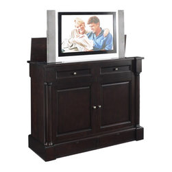 TVLIFTCABINET Wynterhall TV Lift Cabinet - Display and organize your audio/visual system in the striking TVLIFTCABINET Wynterhall TV Lift Cabinet. The cabinet stands on a shaped plinth base and features solid brass hardware. Finished in a lightly distressed dark tobacco. Wynterhalls first-of-its-kind cabinet design allows for flexible, personalized configuration of the cabinet drawers and the television screen: the cabinet can be rotated so that the television screen is on the same side (or the opposite side) as the drawers. This flexibility allows the console to be used at the foot of the bed or against the wall or wherever you desire!