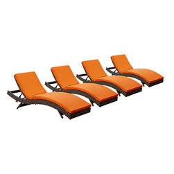 """LexMod - Peer Chaise Outdoor Patio Set of 4 in Brown orange - Peer Chaise Outdoor Patio Set of 4 in Brown orange - Dont let moments of relaxation elude you. Peer is a serenely pleasant piece comprised of all-weather cushions and a rattan base. Perfect for use by pools and patio areas, chart the waters of your imagination as you recline either for a nap, good read, or simple breaths of fresh air. Moments of personal discovery await with this chaise lounge that has fold away legs for easy storage or stackability with other Peer lounges. Set Includes: Four - Peer Outdoor Wicker Chaise Modern Outdoor Chaise Lounge, Synthetic Rattan Weave, Machine Washable Cushion Covers, Powder Coated Aluminum Frame, Water & UV Resistant Overall Product Dimensions: 78""""L x 27.5""""W x 48.5""""H Daybed Dimensions: 78""""L x 27.5""""W x 33""""H Seat Height: 15.5""""HBACKrest Height: 33""""H - Mid Century Modern Furniture."""