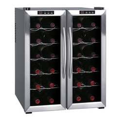 Sunpentown - Double-Door Dual-Zone Thermo-Electric Wine Cooler with H, 24-Bottle - ThermoElectric + Heating Technology  Environment friendly