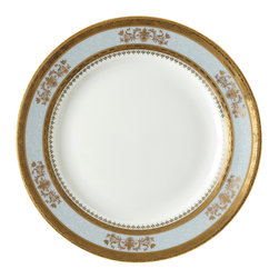 Deshoulieres - Orsay Powder Blue Salad Plate - This luxurious collection will bring opulence to your table. Accented in rich gold, this classic French design can be mixed and matched for statement allure.