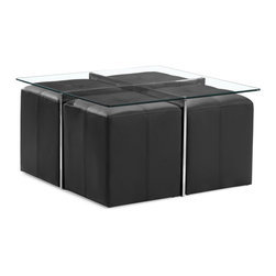 Zuo Modern - Botero Coffee Table Set - The perfect versatile living room piece, the Botero coffee table set has a tempered glass top, chromed steels legs with four padded leatherette stools.