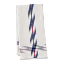 Origin Crafts - Khadhi cotton tea towels (white/navy/red), set of 2 - Khadhi Cotton Tea Towels (White/Navy/Red), Set of 2 The Khadhi collection of refined linens embodies a nostalgic vintage French style. Because Khadi cotton fabric is entirely handmade ? from the spinning to weaving stage, it has a natural, earthy look and feeling. At the same time, it?s understatedly chic and these Khadhi tablecloths, napkins and handkerchiefs are perfect for outdoor dining, complementing a rustic breakfast table or contrasting and softening a modern dining room setting. A Caravan exclusive. Each 100% cotton tea towel is entirely handmade and yarn dyed for a natural texture. Easy care and practical: machine washable, ironing is optional. Dimensions (in):20x30 By Couleur Nature - Couleur Nature is a wholesaler of fine, French-inspired Indian woodblock-printed and vintage linens. Couleur Nature?s linens and home accessories are versatile and can be used for formal or casual table settings year-round, as well as the every day. Their distinct but wide appeal makes them ideal for almost any occasion, decor or personal style. Usually ships in three business days. Our linens are handmade: slight variations are natural and make each piece unique.
