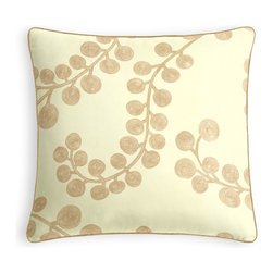 Metallic Gold Swirl Branch Micro Corded Pillow - Every decorator knows: it's the details that make a room.  That's why we love the Microcord Throw Pillow with a thin piped edge that adds just a hint of color.  We love it in this stunning swirling branch pattern handprinted in metallic gold gray on cream cotton. a fresh centerpiece to any style room, from contemporary to classic.