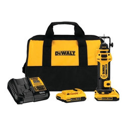 "Dewalt - Dewalt Dcs551D2 20-Volt Drywall Cut-Out Tool Kit - Delivers 26,000rpm speed; Tool-free bit change; Dust-sealed switch; LED work light; Includes 1/4"" & 1/8"" collets, two 20V 2.0Ah batteries & charger"