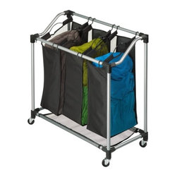 Elite Triple Laundry Sorter - Honey-Can-Do SRT-01641 Steel Elite Triple Sorter, Silver / Black. Sleek and contemporary, this sorter is both stylish and highly functional. Set on smooth glide wheels for easy maneuvering, the heavy-duty steel frame is both durable and rust-resistant. Three removable sorter bags are convenient for sorting and carrying laundry. Metal handles offer exceptional durability. Bags feature breathable mesh material on two sides to keep laundry from storing odors. Mesh material also serves as the bottom of the sorter to help keep heavy loads off of the ground. Contemporary styling and full-featured functionality make this sorter a great choice. Some assembly required.