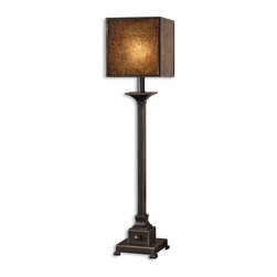 Uttermost - Meora Rustic Bronze Buffet Lamp - You won't feel boxed in when you add one or two of these lamps to your sideboard. The box shade is heavily stained, crushed glass with a bronze metal trim. Striking and unusual, the diffused light adds just the right touch for a romantic dinner for two.