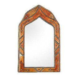 Moroccan Mirror with Circle Pattern - Dimensions 11.0ʺW × 1.0ʺD × 18.0ʺH