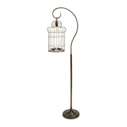 Lantern-Style Floor Lamp with Birdcage - This light fixture turned sculpture is an imaginative floor lamp that will add artistic décor, dimension, and curiosity to your room. Its lantern-style hanging light piece combined with a metal birdcage and holding two faux birds move beyond function to create a whimsical and conversational decorative highlight.
