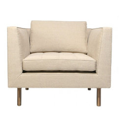 """ecofirstart - Custom """"Even Arm"""" Chair - An even-arm lounge chair on cylindrical patinated brass legs with grid-stitched & button-tufted seat cushion, upholstered in canvas linen."""