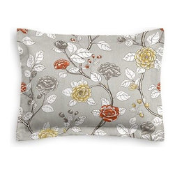 Gray Sketched Floral Custom Sham - The Simple Sham may be basic, but it won't be boring!  Layer these luxurious reversible shams in various styles for a bed you'll want to fall right into. We love it in this contemporary sketched floral in light gray with pops of yellow and red.  So gorgeous it will be modern today, a classic tomorrow.