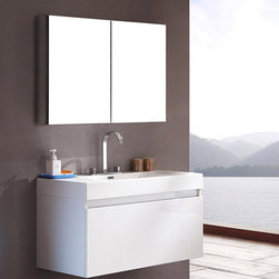 Fresca - Fresca Fresca Mezzo White Modern Bathroom Vanity w/ Medicine Cabinet - Featuring a White finish for a fresh, modern look, as well as a wall mounted design to maximise floor space, the Mezzo vanity from Fresca will make a stylish yet practical addition to any bathroom. Incorporating an innovative nested drawer storage system, this durable vanity with acrylic sink has plenty of room for keeping toiletries neatly hidden away from view. This vanity also includes the medicine cabinet, which can be fitted to the wall or recessed into the wall. Mezzo Modern Bathroom Vanity Details:   Dimensions: Vanity: 39W x 18 5/8D x 21 1/2H, Medicine Cabinet: 39 1/2W x 26H x 5D Material: MDF with acrylic countertop/sink with overflow Single hole faucet mount Nested soft close drawer storage system Finish: White Includes medicine cabinet Please note: faucet not included
