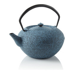 Hiratsubo Cast Iron Teapot, Blue - Made with cast iron and based on Japanese tea ceremony teapots, this has a beautiful and modern-looking shape.