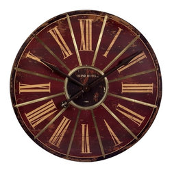 IMAX CORPORATION - Large Red Wall Clock - Savor the vintage design of this attractive home accent that's sure to blend flawlessly with any traditional home decor. Beautifully weathered with a generous clock face, this wall clock makes it easy to decorate with style. Find home furnishings, decor, and accessories from Posh Urban Furnishings. Beautiful, stylish furniture and decor that will brighten your home instantly. Shop modern, traditional, vintage, and world designs.