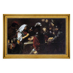"""Valentin De boulogne-16""""x24"""" Framed Canvas - 16"""" x 24"""" Valentin De boulogne The Fortune Teller framed premium canvas print reproduced to meet museum quality standards. Our museum quality canvas prints are produced using high-precision print technology for a more accurate reproduction printed on high quality canvas with fade-resistant, archival inks. Our progressive business model allows us to offer works of art to you at the best wholesale pricing, significantly less than art gallery prices, affordable to all. This artwork is hand stretched onto wooden stretcher bars, then mounted into our 3"""" wide gold finish frame with black panel by one of our expert framers. Our framed canvas print comes with hardware, ready to hang on your wall.  We present a comprehensive collection of exceptional canvas art reproductions by Valentin De boulogne."""