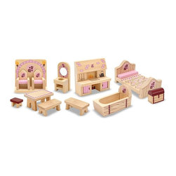 """Melissa & Doug - Melissa and Doug Princess Castle Furniture Set Multicolor - 3570 - Shop for Dollhouses and Dollhouse Furnishings from Hayneedle.com! Whether your daughter's favorite princess is Sleeping Beauty or Rapunzel she'll love acting out the part through her dolls with the Melissa and Doug Princess Castle Furniture Set. This regal suite of wooden furniture sets the stage for royal adventures. With thrones an old-fashioned kitchen range and even a treasure chest this 12-piece set is ideal for use with other Melissa and Doug castle or dollhouses. Other items include benches a table a bed and a vanity set. Recommended for children ages 3 and up. About Melissa & Doug ToysSince 1988 Melissa & Doug have grown into a beloved children's product company. They're known for their quality educational toys and items and have grown in double digits annually. The Melissa & Doug company has been named Vendor of the Year by such great retailers as FAO Schwarz Toys R Us and Learning Express and their toys have been honored as """"Toys of the Year"""" by Child Magazine FamilyFun Magazine and Parenting Magazine. Melissa & Doug - caring quality children's products."""