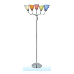 Lite Source - Lite Source LS-82116 Uni II 5 Light Floor Lamp - Lite Source LS-82116 Uni II 5 Light Floor LampMake your room the life of the party with this incredible 5 light floor lamp from Lite Source. Featuring 5 individually adjustable arms and wonderfully frosted polystyrene shades, this lamp is the perfect fit for any living room, bedroom or studio. Choose from clear or multi-colored shades to match any room!Lite Source LS-82116 Features: